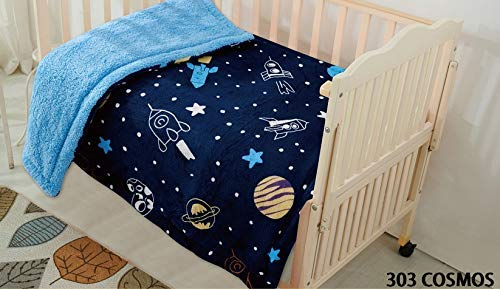 Elegant Home Kids Soft & Warm Sherpa Starts Galaxy Space Ship Rocket Baby Toddler Boy Blanket Printed Borrego Stroller or Baby Crib or Toddler Bed Blanket Plush Throw 40X50 (Cosmos) from Elegant Home