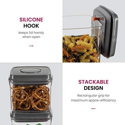 FineDine Botón hermético cuadrado contenedor de almacenamiento de alimentos libre de BPA para almacenamiento de alimentos secos, incluye pala y cuchara ...