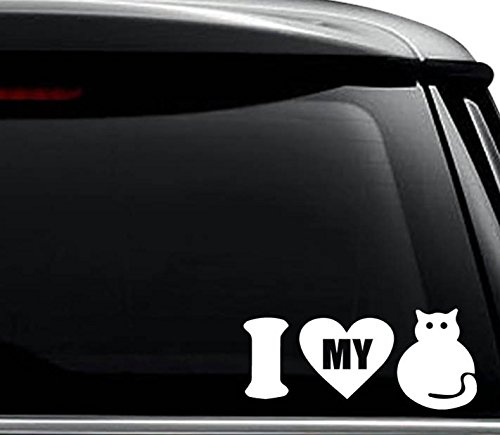 I Love My Cat Kitten Pet Decal Sticker For Use On Laptop, Helmet, Car, Truck, Motorcycle, Windows, Bumper, Wall, and Decor Size- [15 inch] / [38 cm] Wide / Color- - Love Kittens