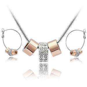 18 K blanco y oro rosa GP blanco juego de cristales de Swarovski collar pendientes de aro