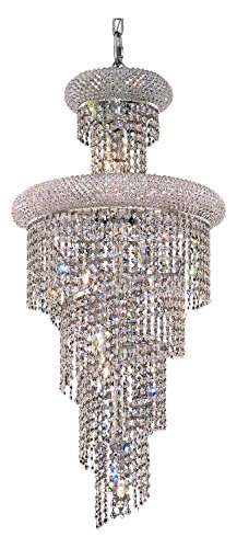 Elegant Lighting 1800Sr16C/Sa Swarovski Spectra Clear Crystal Spiral 10-Light, Three-Tier Crystal Chandelier, Finished in Chrome with Clear Crystals