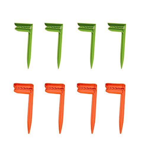 (Wenosda Beach Towel Anchor Stakes Clips Blanket Picnic Fasten Pegs Set for Camping Travel & Beach Day (Green + Orange))