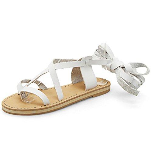COOLCEPT Mujer Moda Cordones Sandalias Punta Abierta Planos Zapatos Blanco