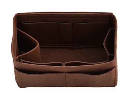 Felt Purse Handbag Tote Organizer Insert - Multi Pocket Storage Liner & Shaper (Medium, Brown) by ONGER50
