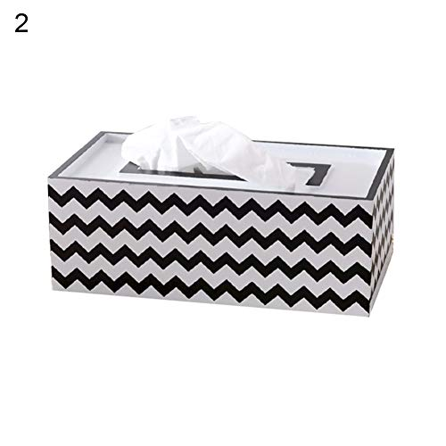 (dxS8hhuo Tissue Storage   Modern Nordic Plaid Wave Triangle Wood Tissue Box Paper Towel Case Home Decor - 2)
