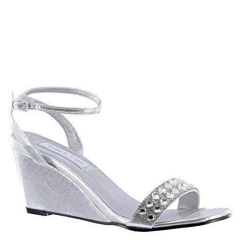 Touch Ups Women's Carter Wedge Sandal,Silver Shimmer,US 10.5 - Bejeweled Wedge
