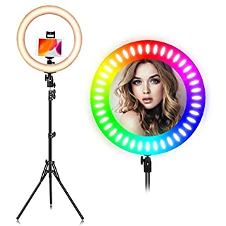 EEIEER RGB Ring Light, 19-inch 55W Selfie Ring Light Stand with Wireless Remote Control and iPad Holder, RGB dimmable Light Stand, Carrying Bag for Photography, Makeup, YouTube Video Shooting etc