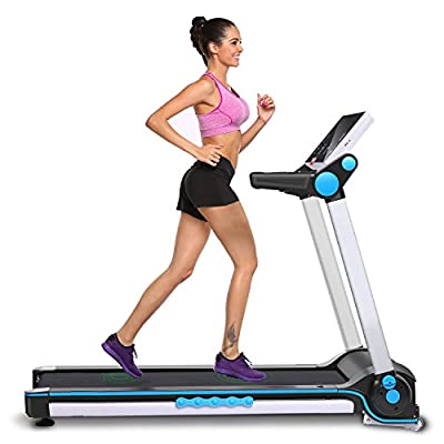 Electric Treadmill, Portable Folding Motorized Running Fitness Training Incline Machine (US Stock)