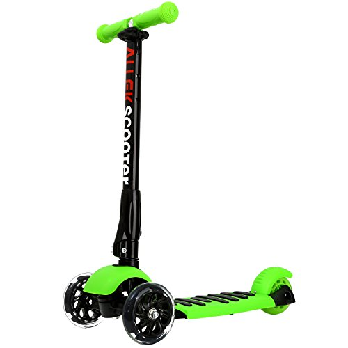 ALLEK Kick Scooter, 3 Wheel Adjustable Height PU Flashing 3 Wheels Scooter for Kids with Patented Folding System Best Gifts for Children from 3 to 17 Year-Old (Green)