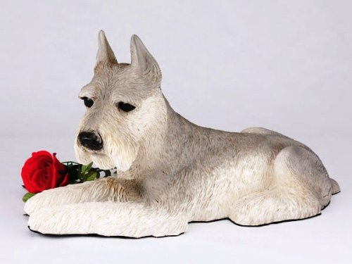 Schnauzer Ears Up Gray Cremation Pet Urn for secure installation of your beloved pet's ashes indoors or outdoors by King Products