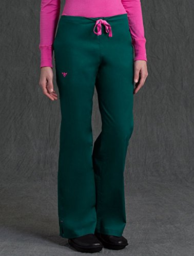 Med Couture Drawstring Signature Scrub Pants for Women, Hunter/Cotton Candy, Medium ()