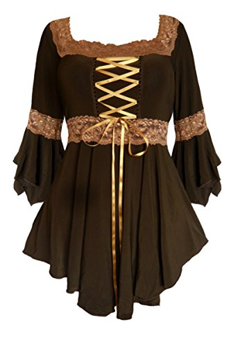 Dare To Wear Victorian Gothic Plus Size Renaissance Corset Top Brown/Gold 1x