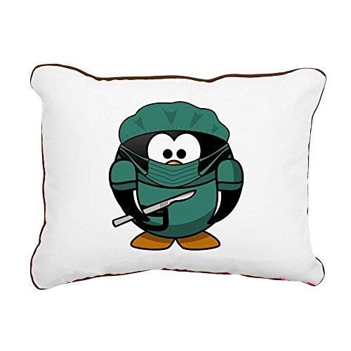 Rectangular Canvas Throw Pillow Brown Little Round Penguin - Doctor Surgeon