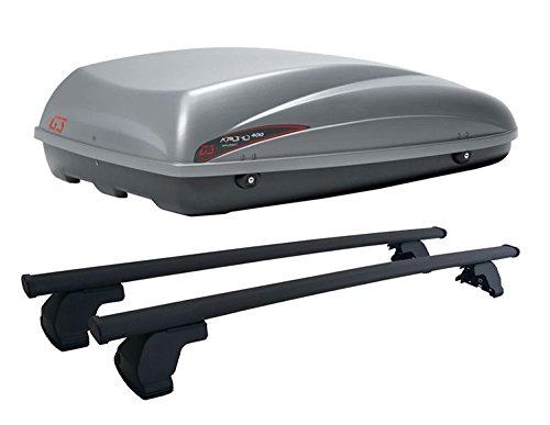 Box da Tetto KRONO 400 G3 ME13H11+AZ03060023 Barre PORTATUTTO in Acciaio Modello Pacific per Auto con Tetto Liscio