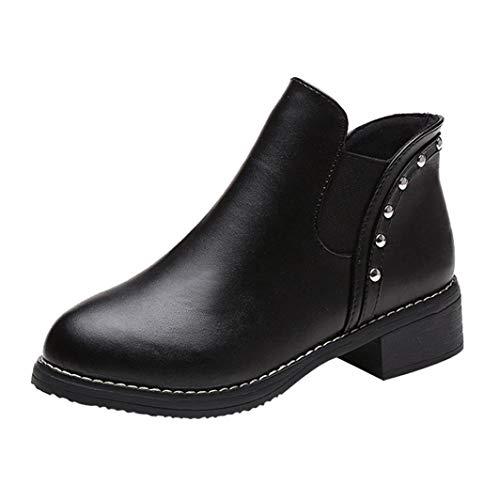 LILICAT Women's Chelsea Boots Women Rivets Flat Shoes Martain Boots Leather Ankle Boots Round Toe Shoes Autumn Winter Black