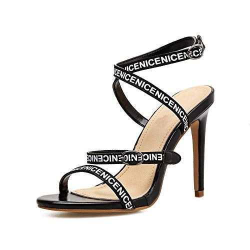(WFF56 Shoes Sexy Letter Sandals Europe and America fine Belt high Heel Women's Shoes Stiletto)