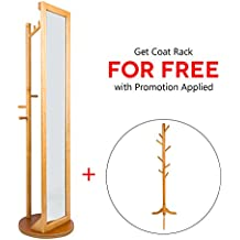 LCH Multifunctional 360° Rotatable Solid Wood Frame and Glass Dressing Mirror Free Standing Cheval Floor Mirror with Coat Stand Coat Hooks (Natural)