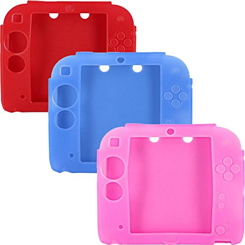 (Lilyy 3Packs Protective Soft Silicone Rubber Gel Skin Case Cover for Nintendo 2DS (Pink,blue,red))