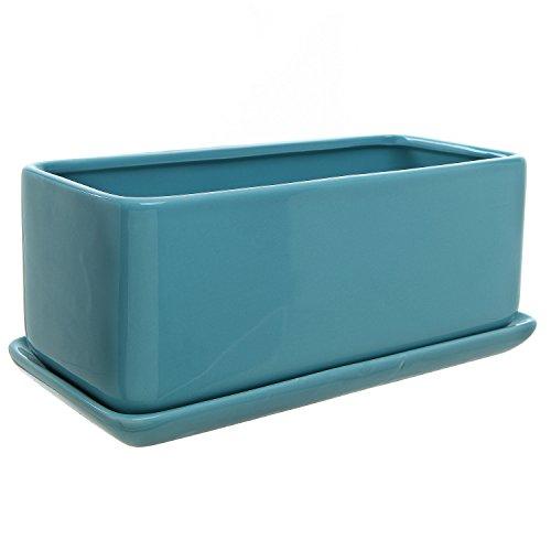 10 Inch Rectangular Modern Minimalist Turquoise Ceramic