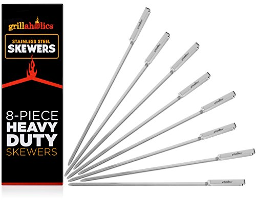 Kabob Grill Chicken (Grillaholics Skewers, Top Barbecue Grilling Accessories, Grill Delicious Kabobs and Brazilian BBQ on Gas and Charcoal Grills, Reusable Metal Unlike Bamboo, Set of 8 Stainless Steel Shish Kebab Sticks)