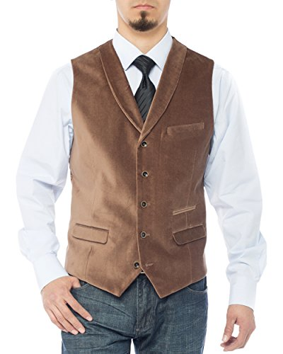 LN LUCIANO NATAZZI Men's Shawl Lapel Velvet Waistcoat Modern Fit Dress Suit Vest (42 US / 52 EU = Large, Camel)