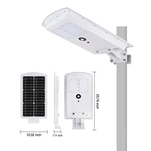 Brillihood 25W LED Integrated Solar Street Light, IP65 Waterproof Dimmable Solar Pole Light with Motion Sensor, 6000K (Daylight White), Security Area Night Lamp for Indoor/Outdoor Lighting.