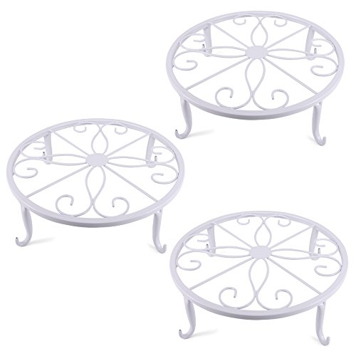 (Metal Plant Stand Wrought Iron Planter,Iron Art Flower Pot Supporting Stand Indoor Outdoor Garden Set of 3(White))
