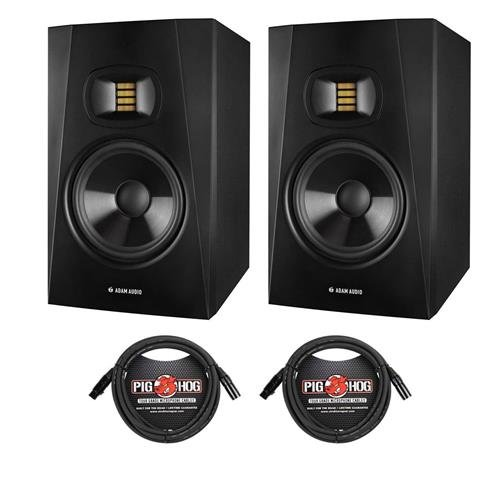 Adam Audio 2 Pack Professional T-Series T7V 7'' 70W 2-Way Active Nearfield Monitor, Single - With 2 Pack 15' 8mm XLR Microphone Cable