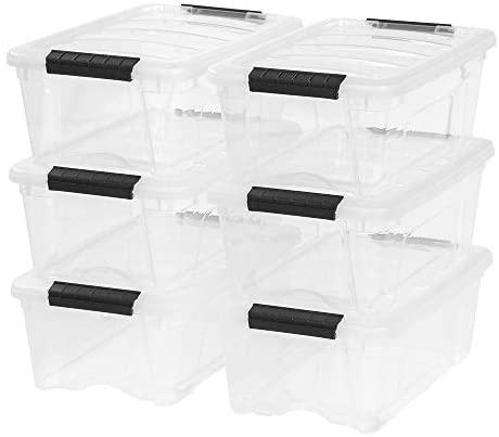 IRIS USA TB-42 12 Quart Stack & Pull Box, Clear
