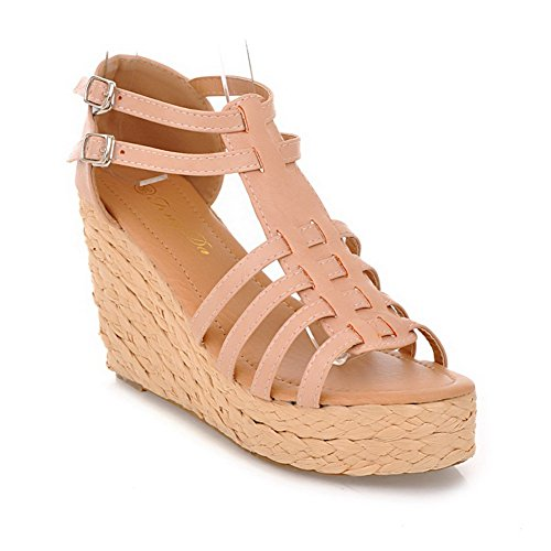 Toe Sandals Apricot Soft Womens with VogueZone009 Wedge Thread Material High PU Heel Solid Open 6Uxqa