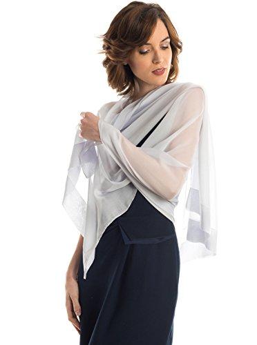 Silk Scarf Shawl Wrap Art - Elizabetta Evening Shawl Wrap, Pure Silk Chiffon, Made in Italy, Silver Gray