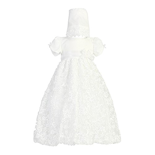 Long White Embroidered Satin Ribbon Tulle Baby Girl Christening Baptism Special Occasion Newborn Dress Gown with Matching Hat - M (6-12 Month, 13-17 -