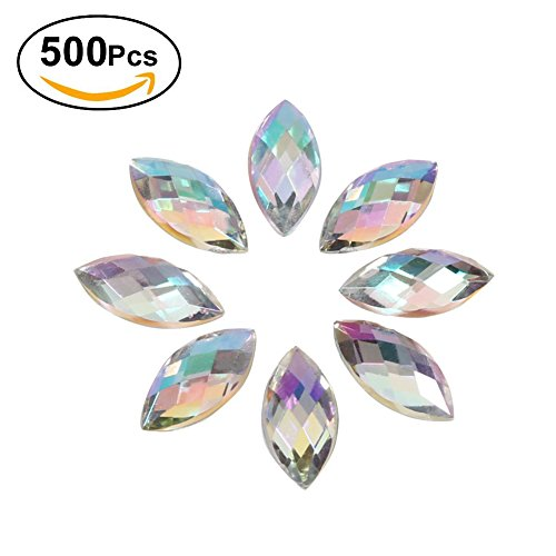 500Pcs In Bulk 7X15mm Crystal AB Acrylic Flatback Rhinestones Eye Shaped Diamond Beads For DIY Crafts Handicrafts Clothes Bag Shoes Wholesale, White AB Diamond Shaped Beads