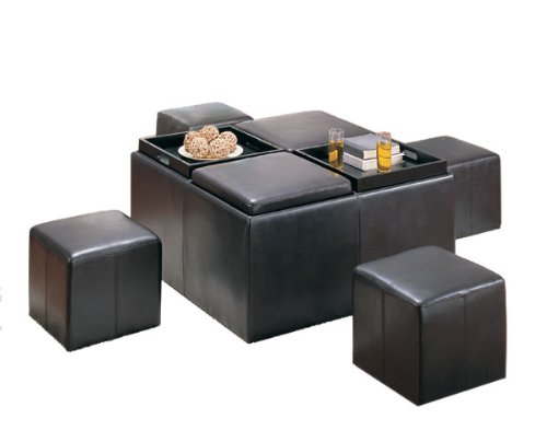 Homelegance Claire Cocktail Table w/ Four Serving Trays & Four Concealable Stools Faux Leather Brown