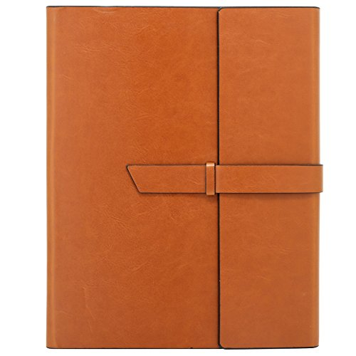 Gallaway Leather Padfolio Portfolio Folder - fits Writing Pad Letter Legal A4 Notepads Notebooks Professional Document Organizer for Resumes Interviews Business Meetings Conference (Brown) - Leather Legal Document