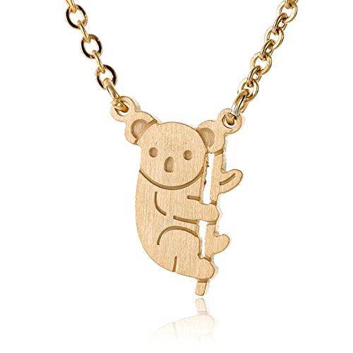 HUAN XUN Koala Bear Necklace Cute Pendant Jewelry for Girls and Women 18k Gold 16