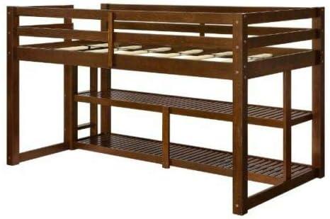 Cypress Shop - Litera doble de madera, tamaño individual, espacio inferior, para niños, adolescentes, adultos, niños, dormitorios, dormitorios, dormitorios, para dormir, con estantes y escaleras, muebles de seguridad para el hogar: Amazon.es: