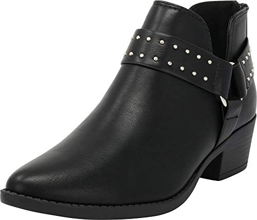 (Cambridge Select Women's Closed Pointed Toe Western Studded O-Ring Harness Moto Chunky Heel Ankle Bootie,8 B(M) US,Black PU)