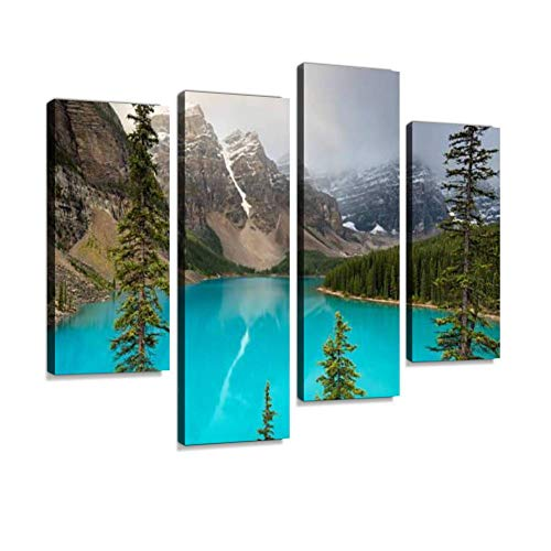- Canvas Wall Art Painting Pictures Moraine Lake, Banff National Park, Alberta, Canada Modern Artwork Framed Posters for Living Room Ready to Hang Home Decor 4PANEL