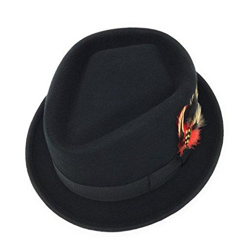 Diamond Crown Pork Pie Hat. Lined. Removable Feather. Black, Brown, Grey, Navy. S - XXL (57cm/22.44