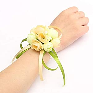 Wrist Corsage - Szs Wrist Corsage Bracelet Bridesmaid Sisters Hand Flowers Wedding Party Bridal Prom - Mother Angel Peony Boutonniere Navy/silver Supplies Girl Prime Lily Coral Father Bu 19