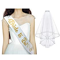 Gold & White Bride to BE Sash and Veil - Bridal Shower Supplies, Hen Party Wedding Decorations - Bachelorette Kit, Party Favors & Accessories