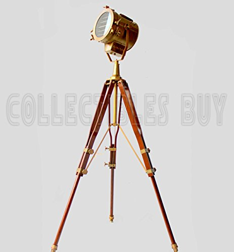 Vintage Old Century Morden Searchlight Nautical Lamp Timber Tripod Antique Spotlights ... (Brass Antique) ()