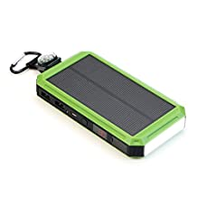 Solar Charger, X-DRAGON 15000mAh USB Solar Battery Charger with Cigarette Lighter, Bright LED Light for Cell phone,Samsung,iphone7plus/6/6s/5,Android Smartphone and More-Green