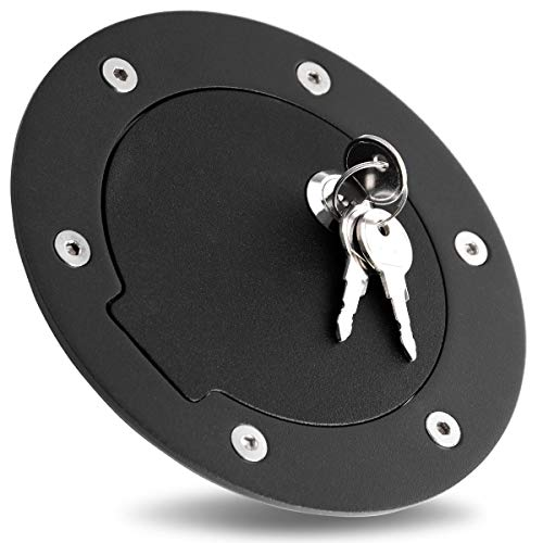 Maxiii Gas Fuel Tank Door Black Matte Gas Fuel Cap Door Cover with Lock & Key Fit for 94-05 Dodge Ram 1500/2500/3500