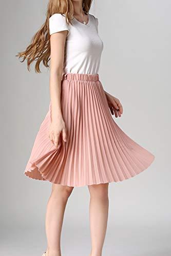 Rose Jupe Casual Plisse Femmes lastique Haute Taille Jupes De en Soie D't Mousseline 1qwqZv7T