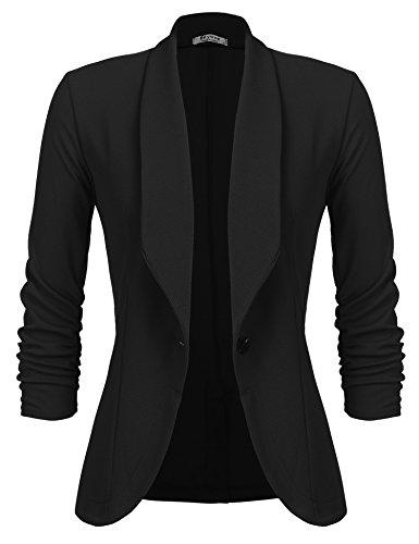 Beyove Women's 3/4 Sleeve Blazer Open Front Cardigan Jacket Work Office Blazer Black S by Beyove (Image #3)