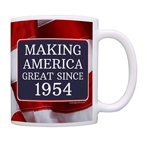 65th Birthday Gifts Making America Great Since 1954 Funny 65th Birthday Party Supplies 65th Birthday Gag Gift Coffee Mug Tea Cup USA Flag -