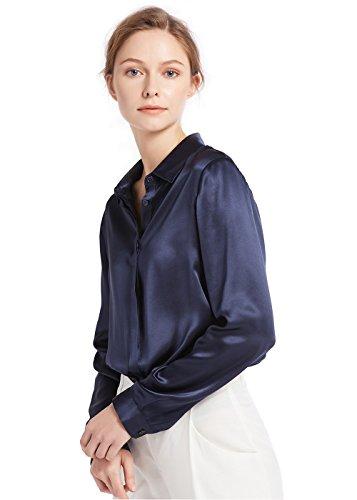 V Dcontract Chemisier Longues Mode en Saisons Col Momme Chic Bleu Toutes pour 22 Chemise Manches Soie Femme LILYSILK Marine n6yqOY7AFw