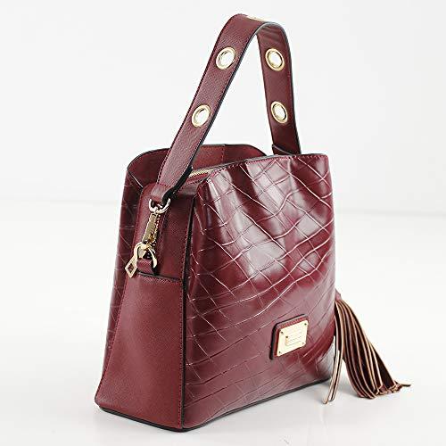 Rojo para Eferri Shopper Prato cm W x 10x22x24 Mujer H x L Burdeos Hobbo Bolso rIxBfOr